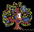 Funny tree with cats and birdies Stock Image
