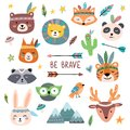 Funny tribal animals faces. Wild woodland zoo, cute animal with tribals face painting isolated cartoon vector set