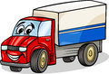 Funny truck car cartoon illustration of or lorry vehicle comic mascot character Stock Image