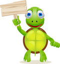 Funny turtle with blank sign Stock Photos