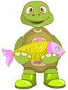 Funny Turtle. Fisherman. Royalty Free Stock Photo