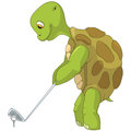 Funny Turtle. Golf Player. Royalty Free Stock Photo