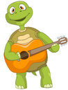 Funny Turtle. Guitarist. Royalty Free Stock Photography