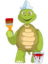 Funny Turtle. Painter. Royalty Free Stock Image