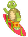Funny Turtle. Surfing. Royalty Free Stock Photo