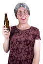 Funny Ugly Mature Senior Woman Drunk Drinking Beer Royalty Free Stock Photography