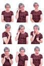 Funny Ugly Old Lady Drama Queen Facial Expressions Royalty Free Stock Photo