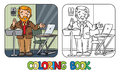 Funny university lecturer. Coloring book