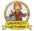 Funny university lecturer. Emblem