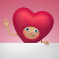 Funny Valentine heart cartoon holding banner Stock Photos