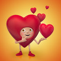 Funny Valentine heart cartoon proposal Stock Images