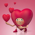 Funny Valentine heart cartoon roposing Stock Images