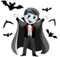 Funny vampire kid illustration featuring a in a scary pose surrounding by flying bats isolated on white background eps file is Stock Photos