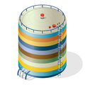 Funny variegated water reservoir isometric building info graphic. Multicoloured water reservoir.