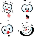 Funny vector cartoon face grin Stock Image