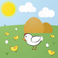 Funny vector cute cartoon yellow hen white chick and eggs with legs green meadow background Stock Photo