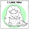 stock image of  Funny vector greeting card with cute fat cartoon crocodile and phrase. The concept of fun design for clothing and interior. Simple