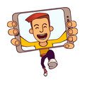 Funny vector illustration of jumping guy taking a self snapshot isolated on white background Royalty Free Stock Photo