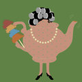 Funny vector teapot housewife gossip woman with duster and hair roller illustrator Stock Photography