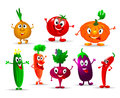 Funny vegetables collection of various fun and Stock Photo