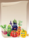 Funny vegetables company scroll Stock Photo