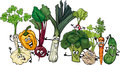 Funny vegetables group cartoon illustration of food characters big Royalty Free Stock Images