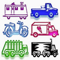 Funny vehicle set Royalty Free Stock Photography