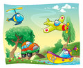 Funny vehicles in the countryside cartoon and vector illustration Stock Photos