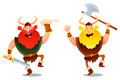 Funny viking warriors dancing and laughing Stock Images