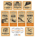 Funny vintage Halloween apothecary labels - set 01 (vector) Royalty Free Stock Photo