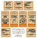 Funny vintage halloween apothecary labels set of stickers two more sets in the same series Stock Photo