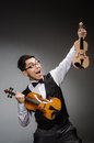 Funny violin player with fiddle Royalty Free Stock Image