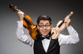 Funny violin player with fiddle Royalty Free Stock Photo