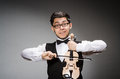 Funny violin player with fiddle Stock Photo