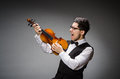 Funny violin player with fiddle Stock Photos