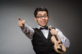 Funny violin player with fiddle Royalty Free Stock Images