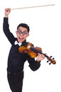 Funny violin player on white Stock Images