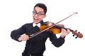 Funny violin player on white Stock Image