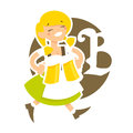 Funny waitress bavarian girl cartoon character Royalty Free Stock Photography