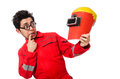 Funny welder isolated on white Royalty Free Stock Photo