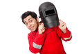 The funny welder isolated on white Royalty Free Stock Photo