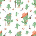 Funny western seamless cactus pattern. Sheriff and indian cactus characters. Cartoon vector illustration Royalty Free Stock Photo