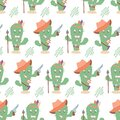 Funny western seamless cactus pattern. Sheriff and indian cactus characters. Suitable for pastel linen, home decor, textiles Royalty Free Stock Photo