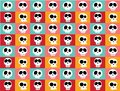Funny white doodle skulls in different characters on vintage bright multicoloured background, pattern seamless background. Royalty Free Stock Photo