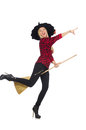 Funny witch with broom Royalty Free Stock Photo