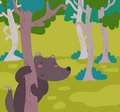 Funny wolf in the wood Royalty Free Stock Photos