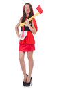 The funny woman with axe isolated on white Royalty Free Stock Photo