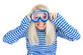 Funny woman in diving mask in sailor dress Royalty Free Stock Images