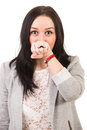 Funny woman with mustache ring in front of mouth isolated on white background Royalty Free Stock Image