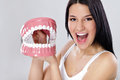 Funny woman playing with jaws Royalty Free Stock Photo